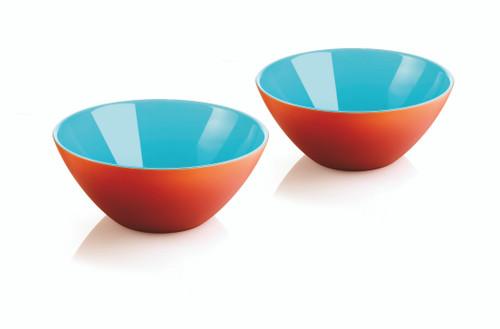Set of 2 Bowls 12cm - Sea Blue/White/Coral