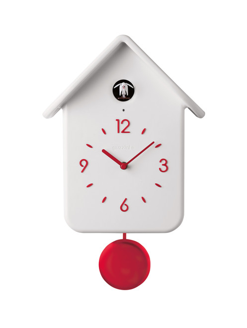 White QQ Cuckoo Clock with Pendulum