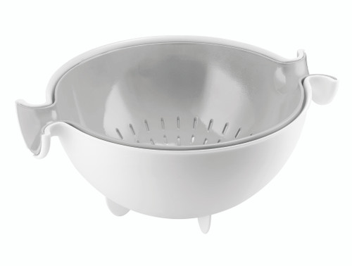 Grey Spin & Drain Colander and Bowl Set