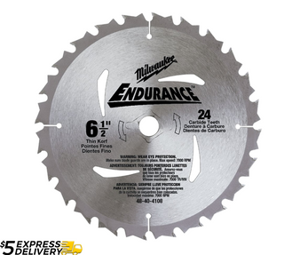 "Milwaukee 6-1/2"" 24 Tooth Carbide Circular Saw Blade  5/8"" Arbor 48-40-4108"