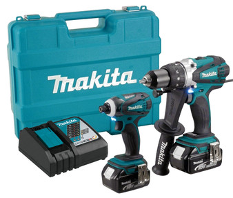 Makita 18V Powerful 2 Tool Cordless 4Ah Drill Impact Driv Kit  DHP458 DTD152