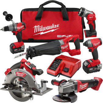 Milwaukee 6 Tool Combo Kit Brushless 18V M18 FUEL 5AH  M18FPP6C-502B