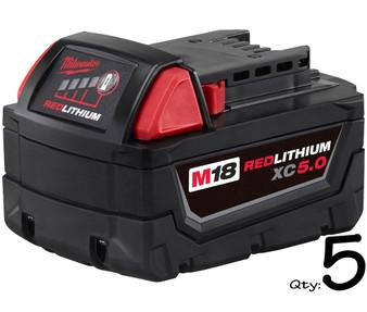 Milwaukee GENUINE Battery 18V M18 5Ah Lithium Ion & REDLINK x5  M18B5 48-11-1850