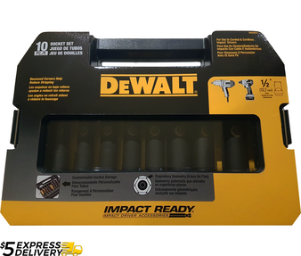 "DEWALT 10 Piece 1/2"" Impact Ready Socket Set Imperial SAE  DW22812"