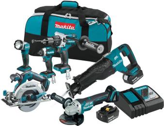 Makita Brushless 6 Tool Combo Kit Cordless 18V 5Ah Lithium Ion