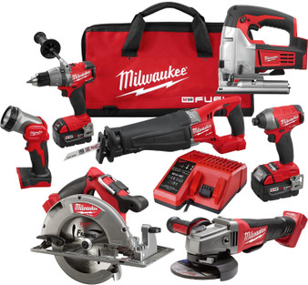 Milwaukee Fuel M18 5AH Brushless 7 Tool Combo Kit  Jigsaw
