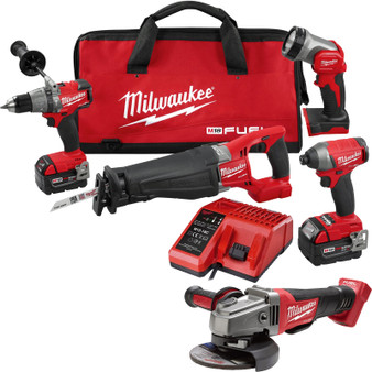 Milwaukee 5 Tool Combo Kit Brushless 18V M18 FUEL 5AH Grinder