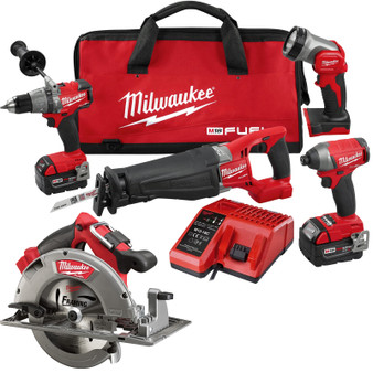 Milwaukee 5 Tool Combo Kit Brushless 18V M18 FUEL 5AH Circular Saw