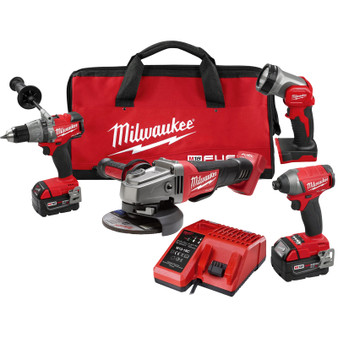 Milwaukee 4 Tool Combo Kit Brushless 18V M18 FUEL 5AH Grinder