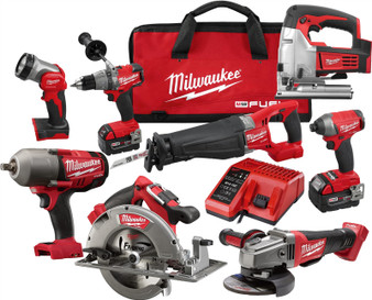 Milwaukee Fuel M18 5AH Brushless 8 Tool Combo Kit  Jigsaw Impact Wrench