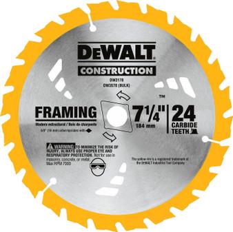 """Dewalt Circular Saw Blade 7-1/4"""" 24T Carbide 5/8"""" Arbor Thin Kerf  DW3576 DW3178"""