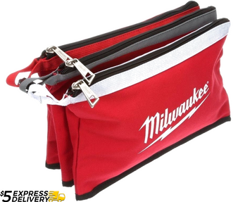 Milwaukee 3x 30cm Waterproof Electricians Zipper Heavy Duty Tool Bag  48228193