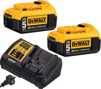 Dewalt 2x Battery & Charger 18V 20V 5Ah Lithium Ion & XR Elec  DCB205 DCB115