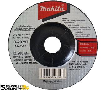 "Makita Grinding Disc Wheel 5"" Angle Grinder 7/8"" Arbor 5 Pack  D-20797"