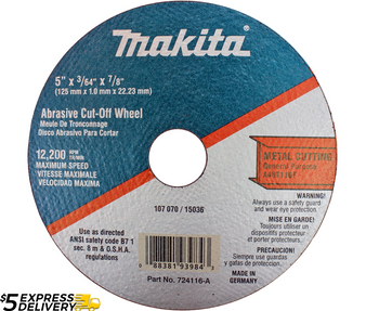 """Makita Cutting Disc Cut-off Wheel 5"""" Angle Grinder 7/8"""" Arbor 10 Pack  724116-A"""