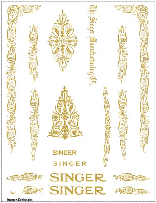 Singer 66 or 99 Filigree Sewing Machine Restoration Decals  SingerDecals.com