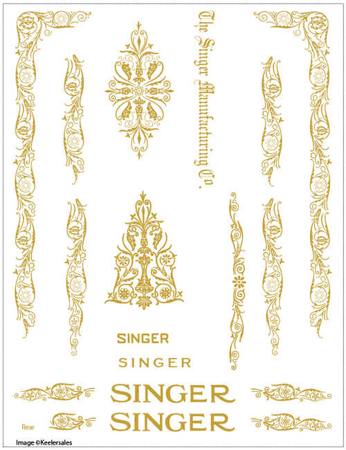 Singer 66 or 99 Filigree Sewing Machine Restoration Decals  SingerDecals.com