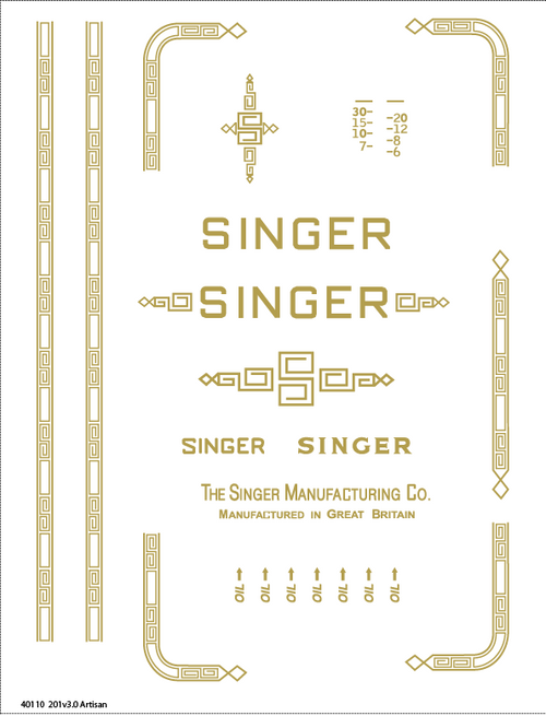 Singer 201 Restoration Decals