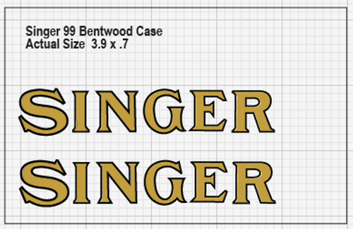 Set of 2 Singer Late Style Sewing Machine Bentwood Case Restoration Decals  SingerDecals.com