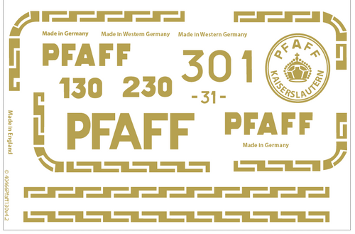 Pfaff 30 130 Restoration Decals