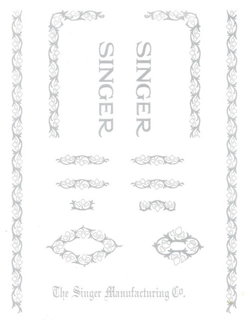 Singer 15 Sewing Machine Restoration Decals Silver Ink  SingerDecals.com