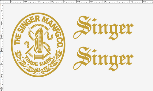 Singer 20 Toy Sewing Machine Restoration Decals Script Letters  SingerDecals.com