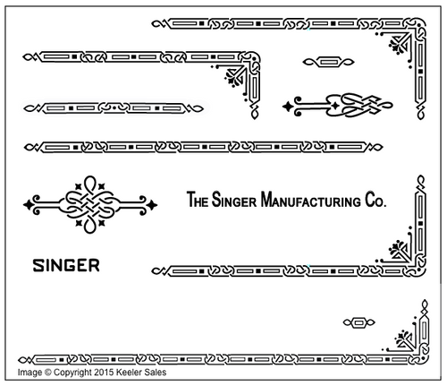 Singer 221 Featherweight AD Series Restoration Decals Black