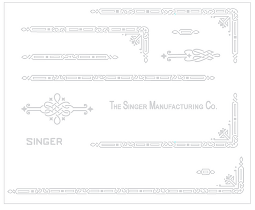 Singer 221 Featherweight AD Series Restoration Decals Silver