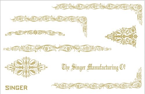 Custom Singer 221 Featherweight Decals for  Restorations Filigree  Design
