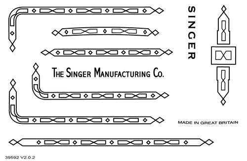 Singer 221K/222 Featherweight Decals for Restorations Prism Design Black  SingerDecals.com