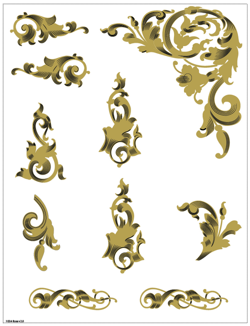 Singer 16K Acanthus Leaves Decals for Commercial Machines  SingerDecals.com