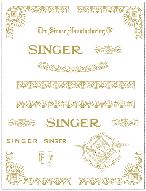 Antiques Singer Model 15 Improved Family Celtic Style Sewing Machine Restoration Decals