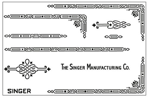 Singer 221 Featherweight Decals for Restorations Celtic Chain Design Black  SingerDecals.com