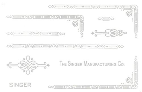 Singer 221 Featherweight Decals for Restorations Celtic Chain Design Silver  SingerDecals.com