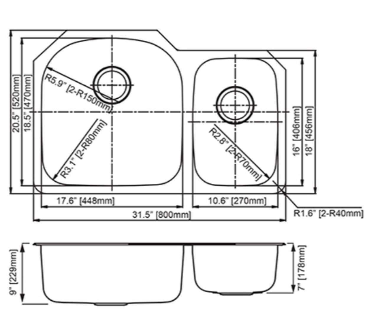 Dakota Genesis Series 70/30 18g Stainless Steel Sink