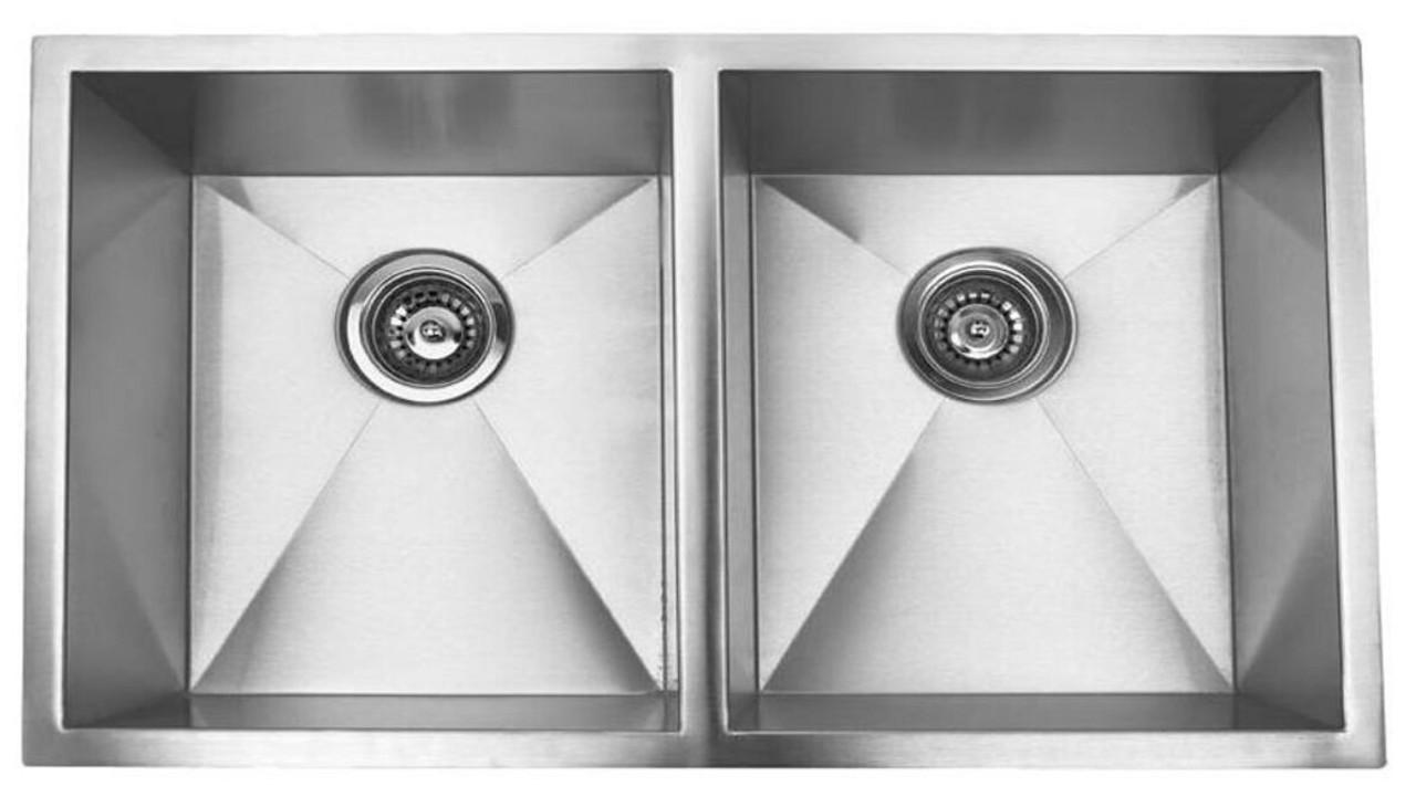 Crescent Stainless Steel Sink 32x18 Zero Radius Double Bowl 18g
