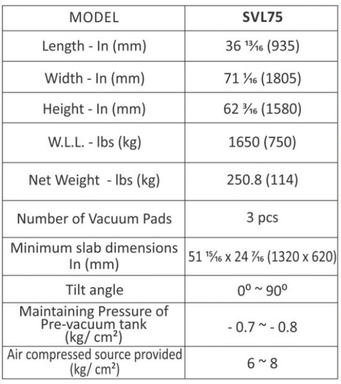 Abaco Stone Vacuum Lifter 75