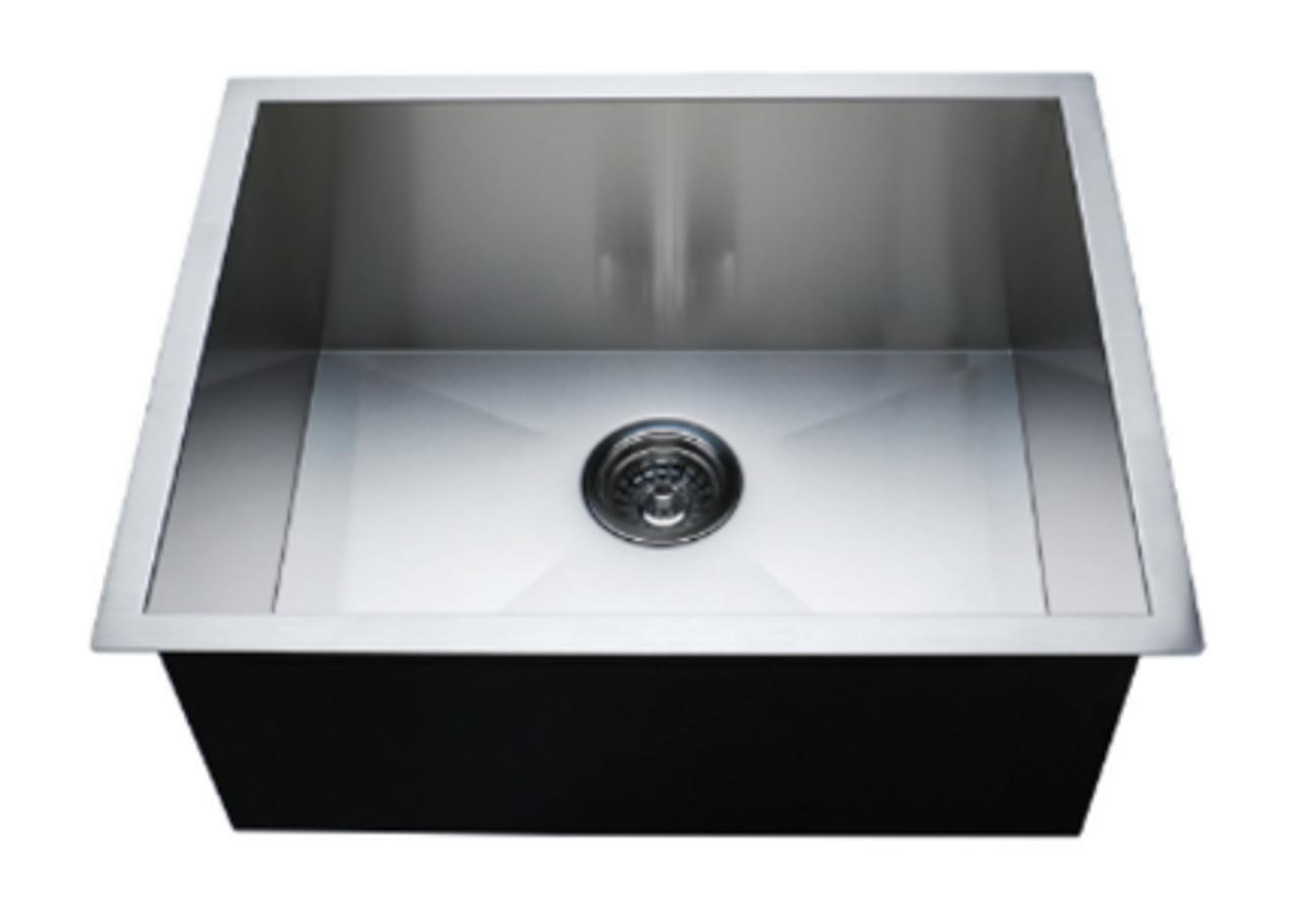 Crescent Stainless Steel Sink 23x18 Zero Radius Single Bowl 18g