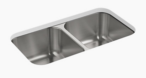Sterling McAllister 32x18x8-9/16 18g 50/50 Kitchen Sink - Stainless