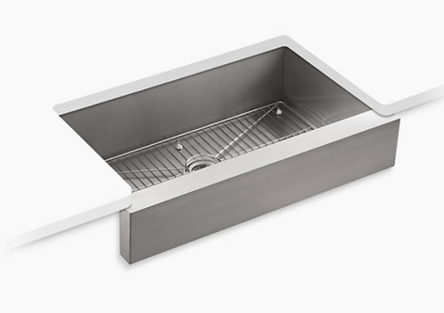 Kohler Vault 35-1/2x21-1/4x9-5/16 Under-Mount Single-Bowl Kitchen Sink with Short Apron - Stainless Steel