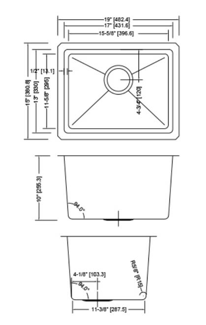 Dakota Genesis Series 19x15 18g MICRO Radius Single Bowl