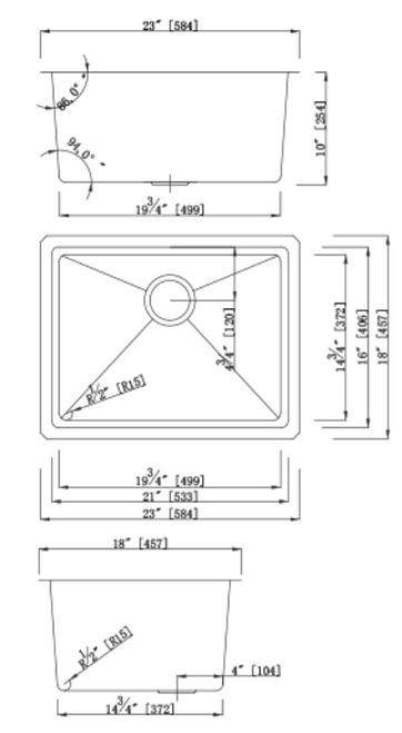 Dakota Genesis Series 23x18 18g MICRO Radius Single Bowl