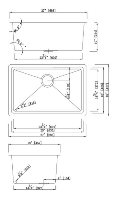 Dakota Genesis Series 27x18 18g MICRO Radius Single Bowl