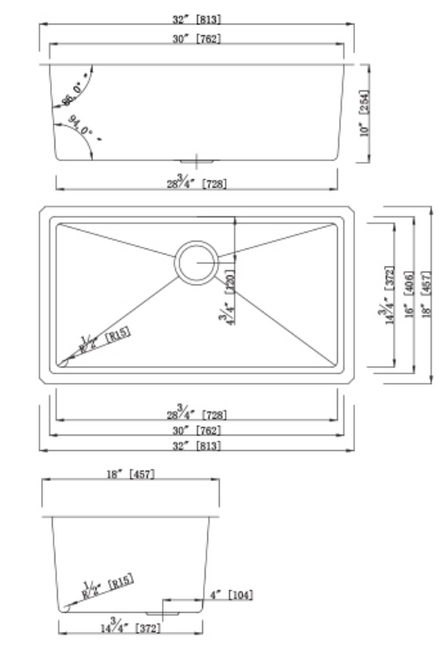 Dakota Genesis Series 32X18 18g MICRO Radius Single Bowl