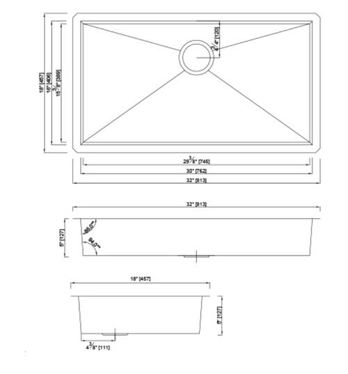 Dakota - Genesis Series 32x18 18g ZERO Radius Single Bowl - ADA Certified