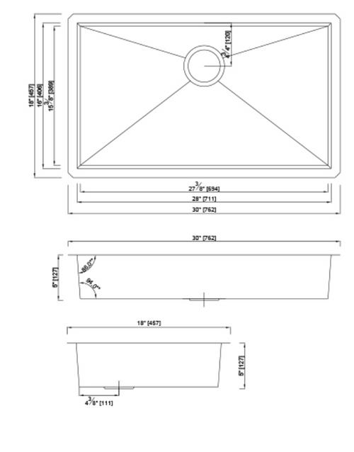 Dakota Genesis Series 30x18 18g ZERO Radius Single Bowl