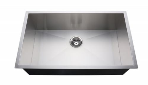 Crescent Stainless Steel Sink 31x18 Zero Radius Single Bowl 18g