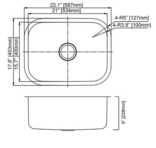 Dakota Genesis Series 23X18 Stainless Steel Kitchen Sink