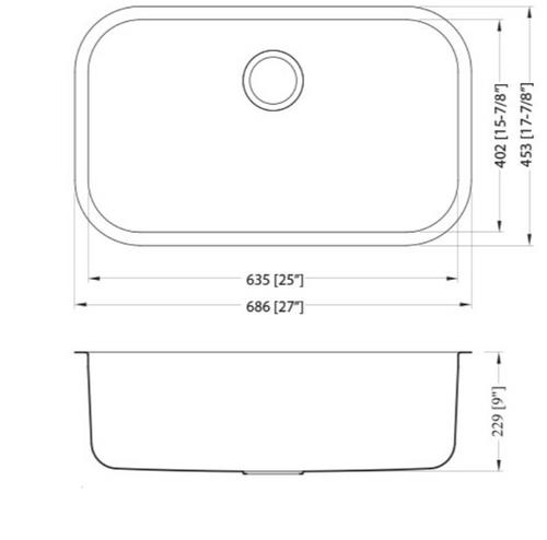Dakota Genesis Series 27x18 18g Stainless Steel Sink