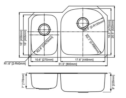 Dakota Genesis Series 30/70 18g Stainless Steel Sink - Reverse